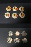 P6 American Tobacco Pins, National Flag, 1898, Belgium, 6 Different