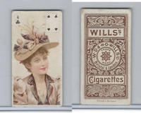 W62-31 Wills, Actresses Playing Card, 1898, Clubs 4