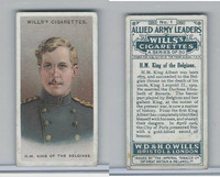 W62-61 Wills, Allied Army Leaders, 1917, World War I, #1 King Albert, Belgium