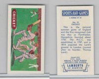 L0-0 Lamberts Tea, Sports and Games, 1964, #23 Cricket