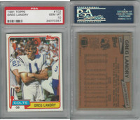 1981 Topps Football, #102 Greg Landry, Colts, PSA 10 Gem