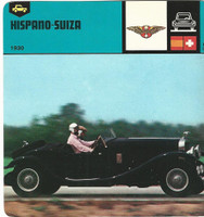 1978 Edito-Service, Automobile Rally Card, #01.08 Hispano Suiza Car