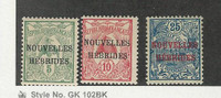 New Hebrides - French, Postage Stamp, #1-3 Mint Hinged, 1910, JFZ