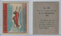 R132 Strip Card, Series of 48 - Aviation, 1938, #340 DH Dragon Six Plane (B)