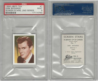J0-0 Jibco Tea, Screen Stars, 2nd, 1956, #7 Dirk Bogarde, PSA 9 Mint