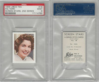 J0-0 Jibco Tea, Screen Stars, 2nd, 1956, #18 Pia Terri, PSA 9 Mint