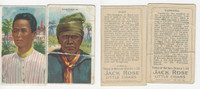 T113 Jack Rose Tobacco Cards, 1910, Types Nations, Lot of 2 Different, PHX