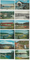 Postcard Lot of 12, Canada Covered Bridges, Alma, Waterloo, Hartland, JFZ