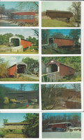 Postcard Lot of 10, Ohio & Pennsylvania Covered Bridges S, JFZ