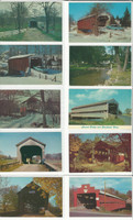 Postcard Lot of 10, Ohio & Pennsylvania Covered Bridges T, JFZ