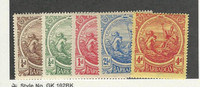 Barbados, Postage Stamp, #127-129, 131, 133 Mint Hinged, 1916-18, JFZ