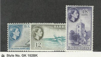 Barbados, Postage Stamp, #241-242, 244 Mint NH, 1953-56, JFZ