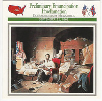 1995 Atlas, Civil War Cards, #43.17 Emancipation Proclamation, Abe Lincoln