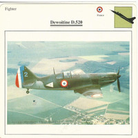 1990 Edito-Service, War Planes Cards, Airplanes, #02.06 Dewoitine D.520