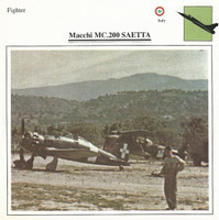 1990 Edito-Service, War Planes Cards, Airplanes, #08.04 Macchi MC.200 Saetta