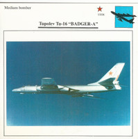 1990 Edito-Service, War Planes Cards, Airplanes, #10.10 Tupolev Tu-16 Badger