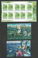 Aland - Finland, Postage Stamp, #108, 272, 327 Mint NH, Fishing, Horse