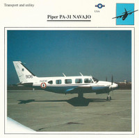 1990 Edito-Service, War Planes Cards, Airplanes, #18.13 Piper PA-31 Navajo