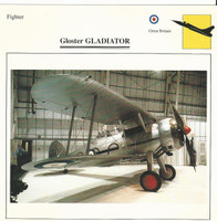 1990 Edito-Service, War Planes Cards, Airplanes, #43.08 Gloster Gladiator