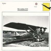 1990 Edito-Service, War Planes Cards, Airplanes, #100.19 Dewoitine D.9