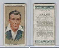 P72-82 Player Tobacco Card, Cricketers, 1934, #1 L.E.G. Ames, Kent