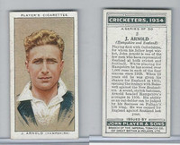 P72-82 Player Tobacco Card, Cricketers, 1934, #2 J. Arnold, Hampshire