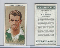 P72-82 Player Tobacco Card, Cricketers, 1934, #10 H.H. Gibbons
