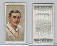 P72-82 Player Tobacco Card, Cricketers, 1934, #11 W.R. Hammond