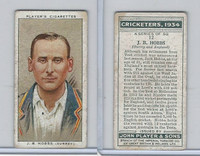 P72-82 Player Tobacco Card, Cricketers, 1934, #12 J.B. Hobbs, Surrey