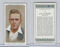 P72-82 Player Tobacco Card, Cricketers, 1934, #13 J.H.A. Hulme