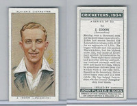 P72-82 Player Tobacco Card, Cricketers, 1934, #14 J. Iddon
