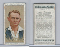 P72-82 Player Tobacco Card, Cricketers, 1934, #17 James Langridge