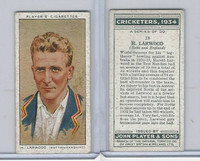 P72-82 Player Tobacco Card, Cricketers, 1934, #18 H. Larwood