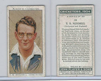 P72-82 Player Tobacco Card, Cricketers, 1934, #19 T.B. Mitchell