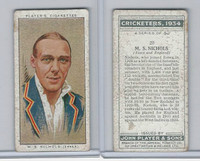 P72-82 Player Tobacco Card, Cricketers, 1934, #20 M.S. Nichols, Essex