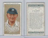 P72-82 Player Tobacco Card, Cricketers, 1934, #21 J.H. Parks, Sussex