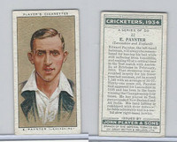 P72-82 Player Tobacco Card, Cricketers, 1934, #22 E. Paynter