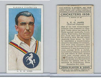 P72-158 Player Tobacco Card, Cricketers 1938, #1 L.E.G. Ames