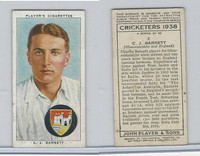 P72-158 Player Tobacco Card, Cricketers 1938, #2 C.J. Barnett