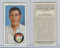 P72-158 Player Tobacco Card, Cricketers 1938, #10 T.W. Goddard
