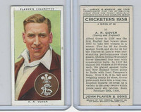 P72-158 Player Tobacco Card, Cricketers 1938, #11 A.R. Gover