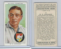 P72-158 Player Tobacco Card, Cricketers 1938, #12 W.R. Hammond