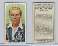 P72-158 Player Tobacco Card, Cricketers 1938, #13 Joseph Hardstaff