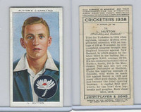 P72-158 Player Tobacco Card, Cricketers 1938, #14 L. Hutton