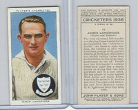 P72-158 Player Tobacco Card, Cricketers 1938, #15 James Langridge
