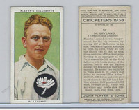 P72-158 Player Tobacco Card, Cricketers 1938, #16 M. Leyland