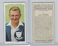 P72-158 Player Tobacco Card, Cricketers 1938, #18 J.H. Parks