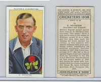 P72-158 Player Tobacco Card, Cricketers 1938, #19 E. Paynter