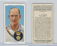 P72-158 Player Tobacco Card, Cricketers 1938, #21 G.H. Pope