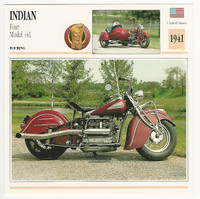 1992 Edito Service, Atlas, Motorcycle Cards, #01.10 Indian FOur Model 441